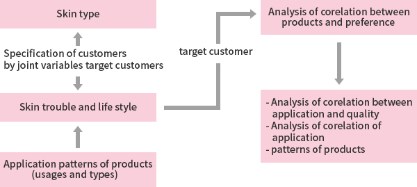 Skin type ← Customer segmentation through joint variables → Skin distress and lifestyle ← Product usage pattern (methods and types of use) ← Target customer → Product / preference correlation analysis → Feeling / attribution correlation analysis, product usage pattern Flexibility analysis, lifestyle Uniqueness